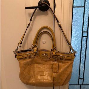 Mustard Yellow, Faux-Croc Coach bag.
